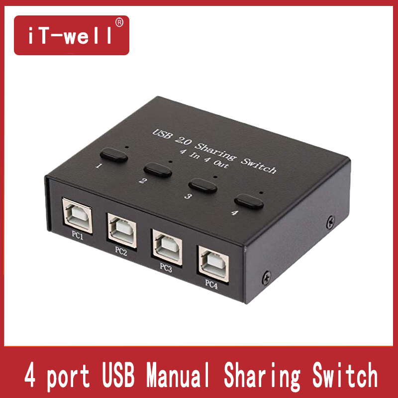 USB HUB Usb Sharing Switch Selectors KVM Switches 4Ports HUB For Flash Printer  Keyboard  Mous  P4 PC Share 4 USB Device