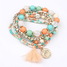 HOT Bran Women Multilayer Beads Bangle Tassels Bracelets