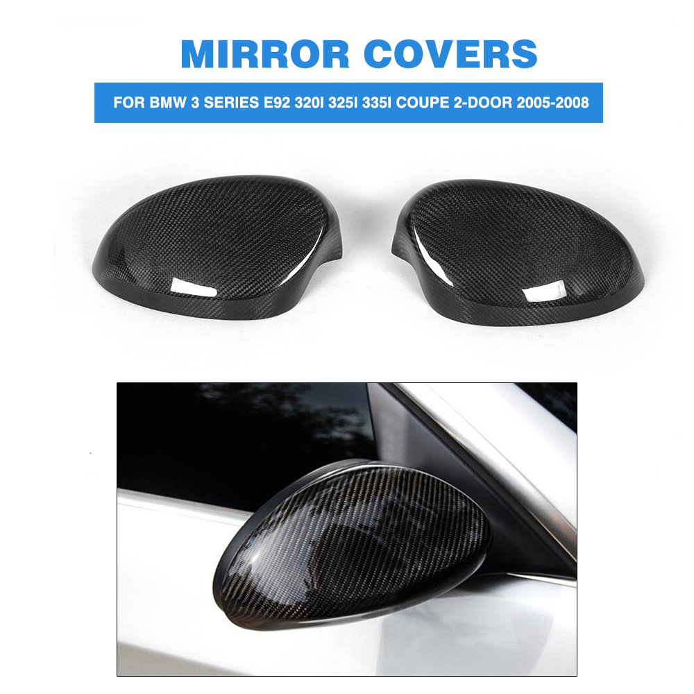 Carbon Fiber Rear View Mirror Covers ,Side Wing Mirror Caps Fit For BMW 3 Series E92 320i 325i 335i Coupe 2-Door 2005-2008 carbon fiber side mirror cover caps overlay for 2005 2006 2007 2008 bmw e90 e91 3 series