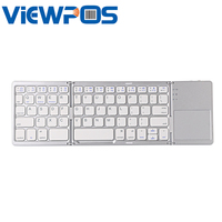 Three Foldable Bluetooth Wireless Keyboard Mini Portable Ultra Thin Touchpad Suitable For Laptops Tablet PC Mobile