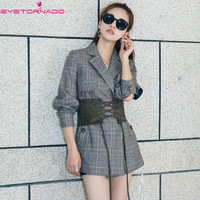 Women plaid pattern wool blazer single button belted office party vintage blazer casual work business autumn blazers coat 7226