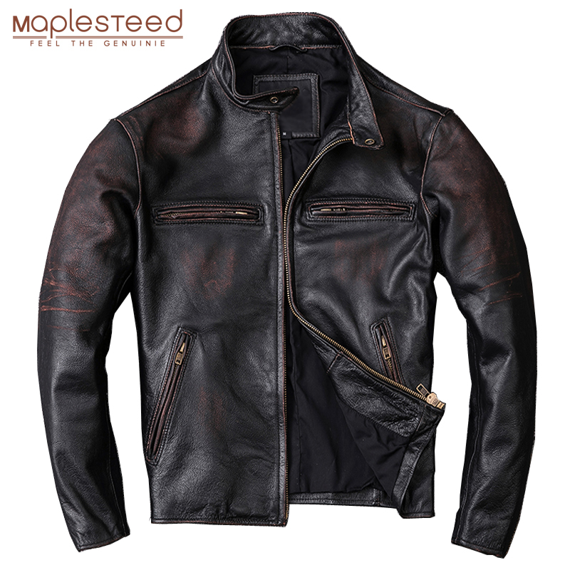 MAPLESTEED Washed Stone Milled Edging Distressed Men Leather Jacket Vintage Black 100% Natural Calf Skin Coat Men Clothing M210