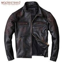 MAPLESTEED yıkanmış taş öğütülmüş kenar sıkıntılı erkekler deri ceket Vintage siyah % 100% doğal dana derisi ceket erkek giyim M210