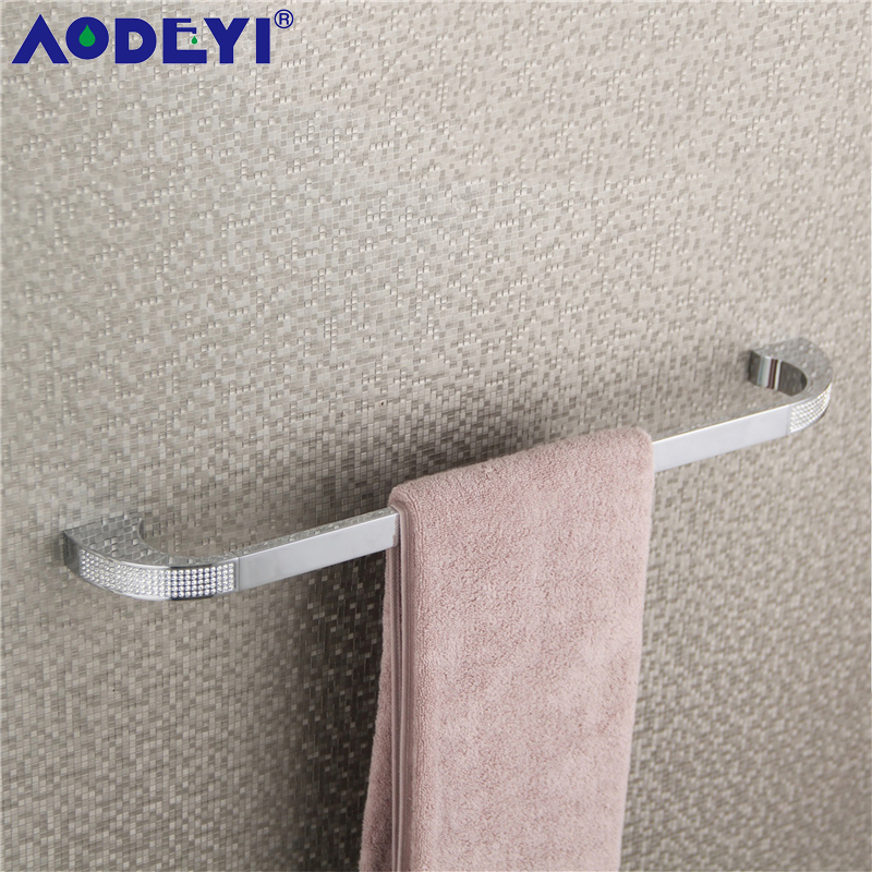 Single Towel Bar, AODEYI Luxury Bathroom Hardware Accessories with Czech Crystal, Wall Mounted, Plated Chrome or Gold Finished
