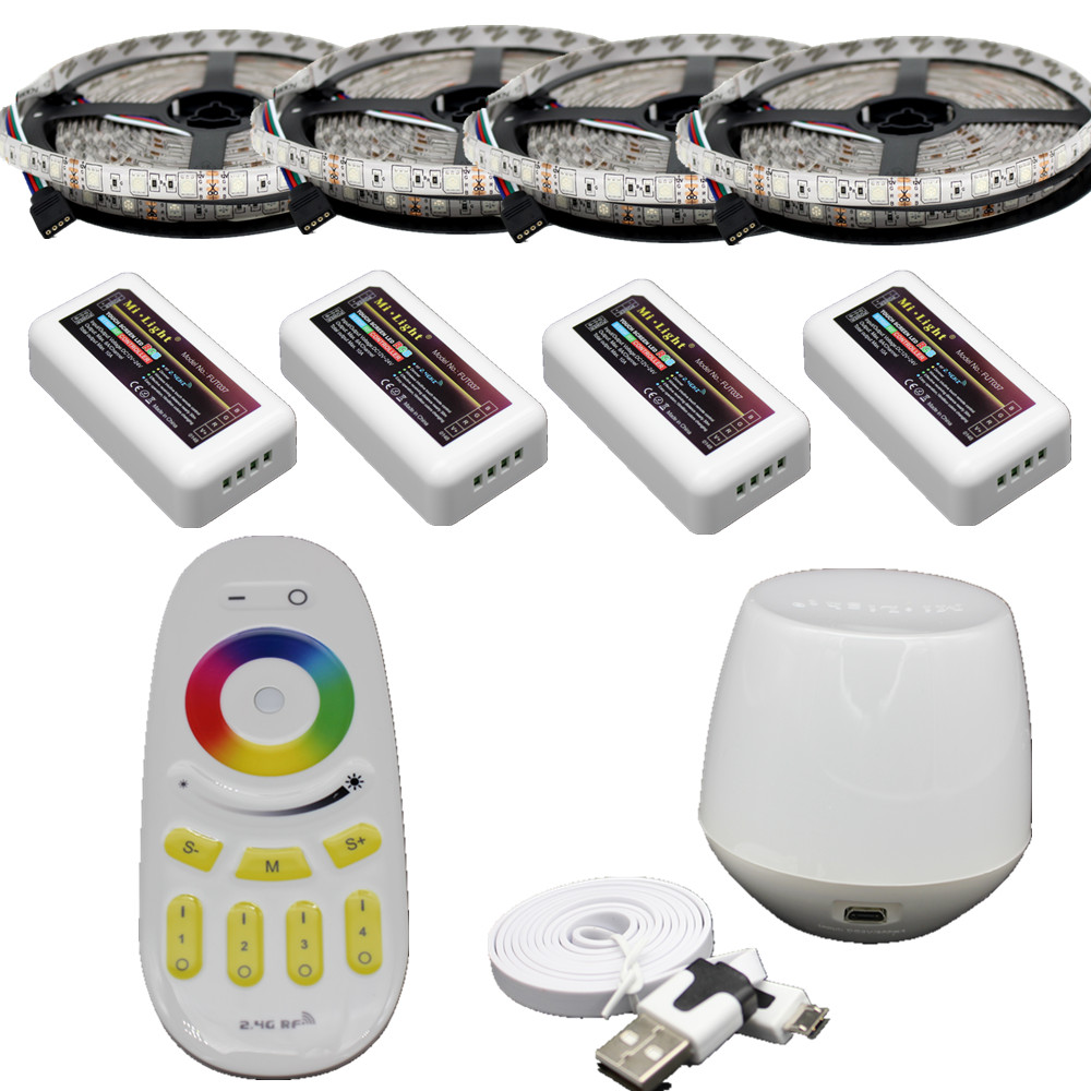 20m RGB led strip 5050 Flexible LED light 60leds/m + 4pcs 4-Zone Controller +Led remote control + Mi Light WIFI controller mi light wifi controller 4x led controller rgbw 2 4g 4 zone rf wireless touching remote control for 5050 3528 led strip