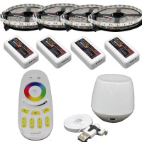 20m RGB led strip 5050 Flexible LED light 60leds/m + 4pcs 4 Zone Controller +Led remote control + Mi Light WIFI controller