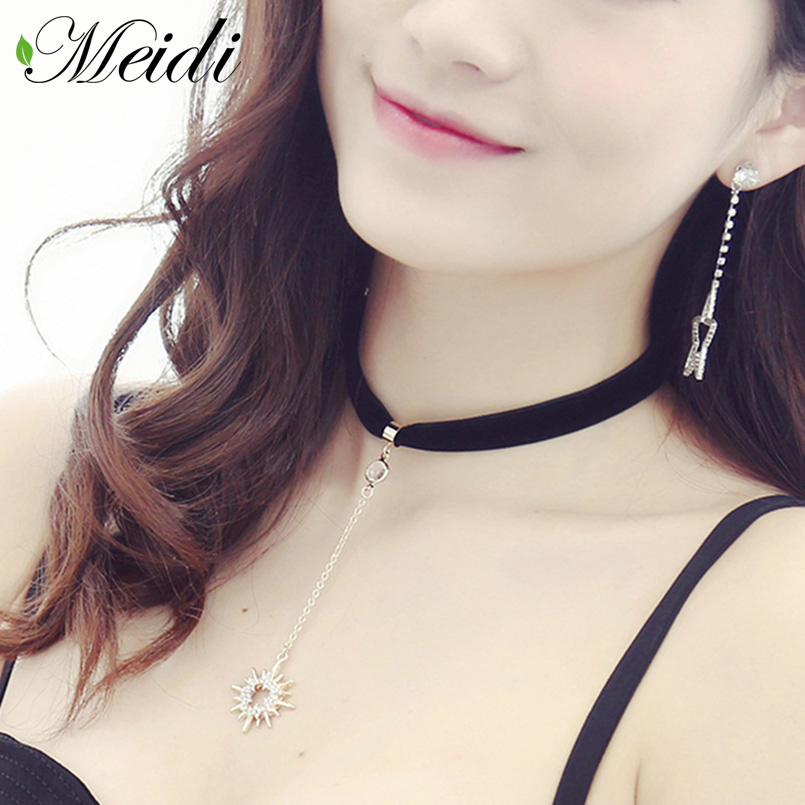 MEIDI Metal Sun & Moon Shape Chokers Necklaces Decorative Female Cloth Short Neck Chain Of Clavicle Simple Style Fashion Jewelry