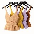 Babados Saia Casual Crochet Top Desgaste ocasional Short Slim Malha Suspensórios Colete Colheita Encabeça As Mulheres 2017 Partes Superiores Das Mulheres Singlet