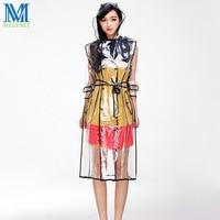 패션 EVA 투명 비옷 벨트 긴 레인 코트 여성 자켓 방수 윈드 후드 판초 야외 비옷