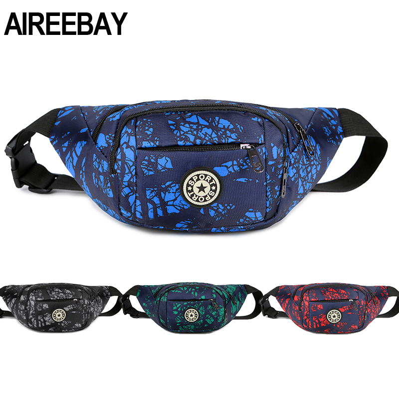 AIREEBAY Women Fanny Pack Big Waist Bag Men Oxford Bum Bag Hip Bag With 3 Zipper Pockets For Travel Chest Bag