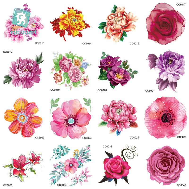MB CC Flowers Color Flowers Floral Peony Designer Temporary Tattoo Sticker Body Art Water Transfer Fake Taty For Face Tatoo