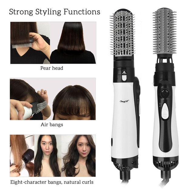 Professional 2 In 1 Hair Dryer Hot Air Brush Enhanced Hair Straightener Comb Brush Hair Curling Irons Styler Large Wave Tong