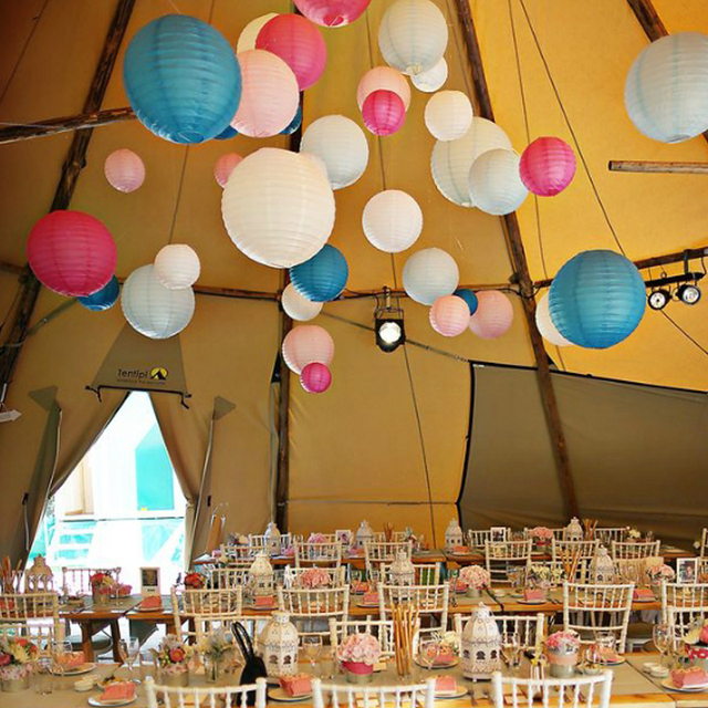 Hot 5pcs 30cm Round Chinese Lantern Lampion White Paper For Wedding Party Decorations Sky