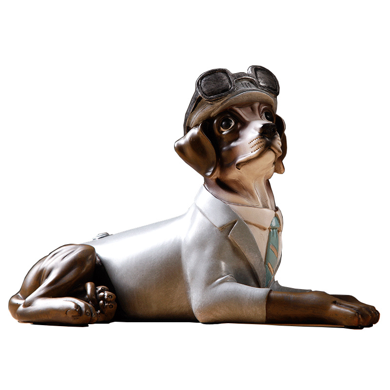 Cute Vintage Resin Dog Statue Home Decor Crafts Creative Room Decoration Dog Desktop Ornament Animal Figurines