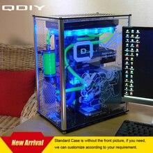 Водяным охлаждением qdiy atx акриловый компьютера корпус pc случае прозрачный с