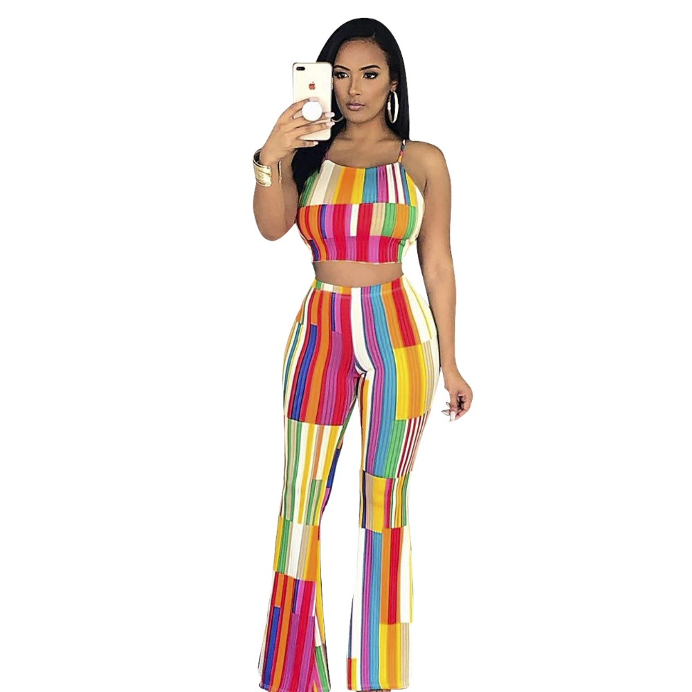 Fashion sexy 2 piece set women outfits 2018 new arrival rainbow striped spaghetti strap lace up short top+long boot cut pants