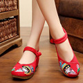 Women's Chinese old Beijing embrodery pumps Peking opera beauty  embroidered ethnic dance soft canvas shoes 5cm heel