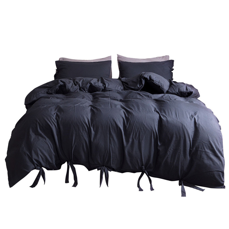 Solid Color Washed Cotton Duvet Cover Set 3 Piece Natural Ultra Soft Modern Style Easy Care Bedding Set Ultra Soft Simple-in Bedding Sets from Home & Garden