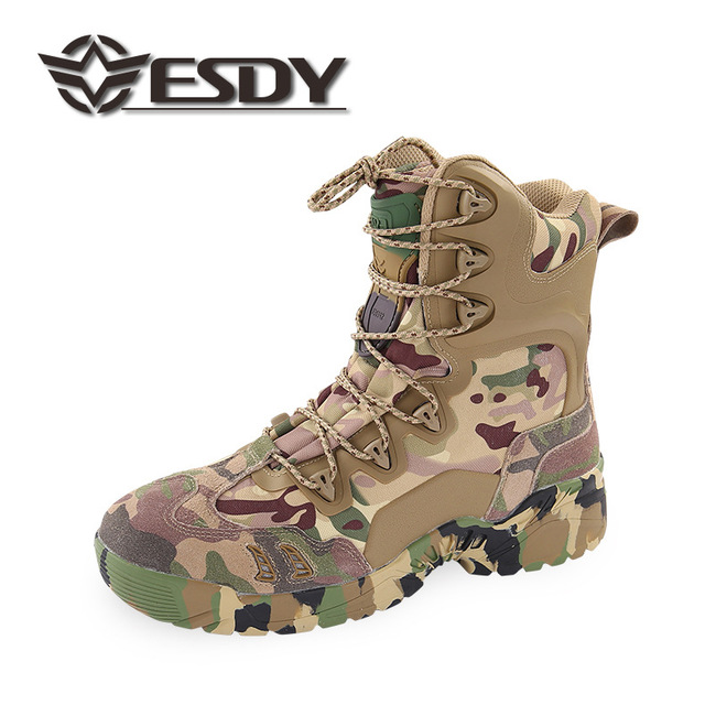 Outdoor Hiking Trekking Shoes Men Camo Leather Protect Ankle Walking Desert Boot Mens Tactical Military Camping Sneakers Boots