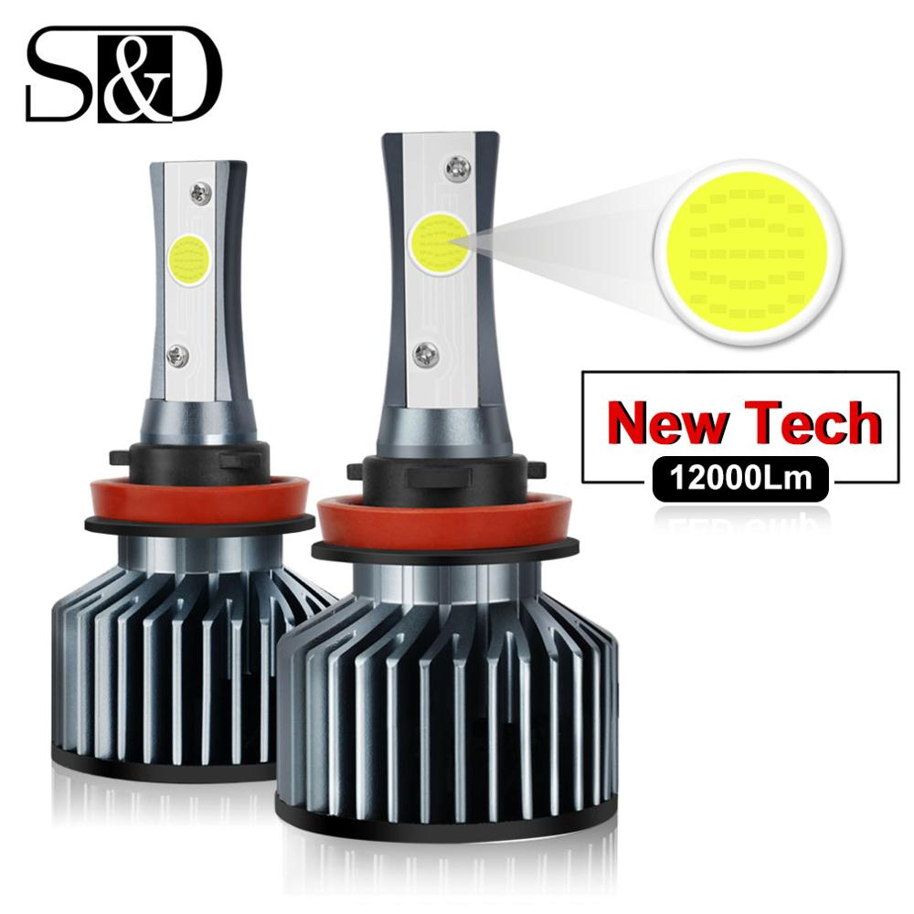 Car Headlight Bulbs LED H1 H3 H27 H7 H11 HB3 HB5 880 9005/HB3 9006/HB4 H4 LED HB1 12V 72W 6000K 12000LM/Pair Lamp Auto Light