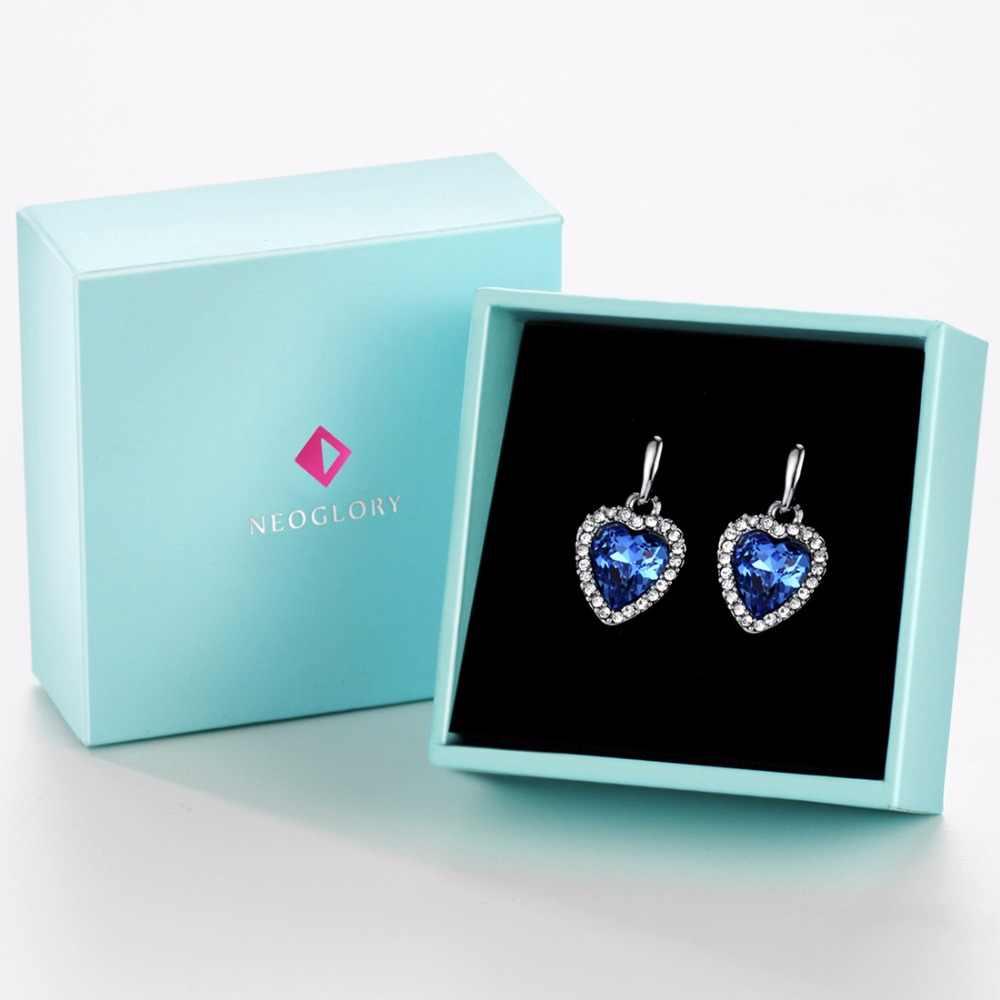 Neoglory Blue Crystal Rhinestone Heart Love Dangle Drop Earrings For Women Girls Friend 2018 New Jewelry Charm Gifts Fashion He1