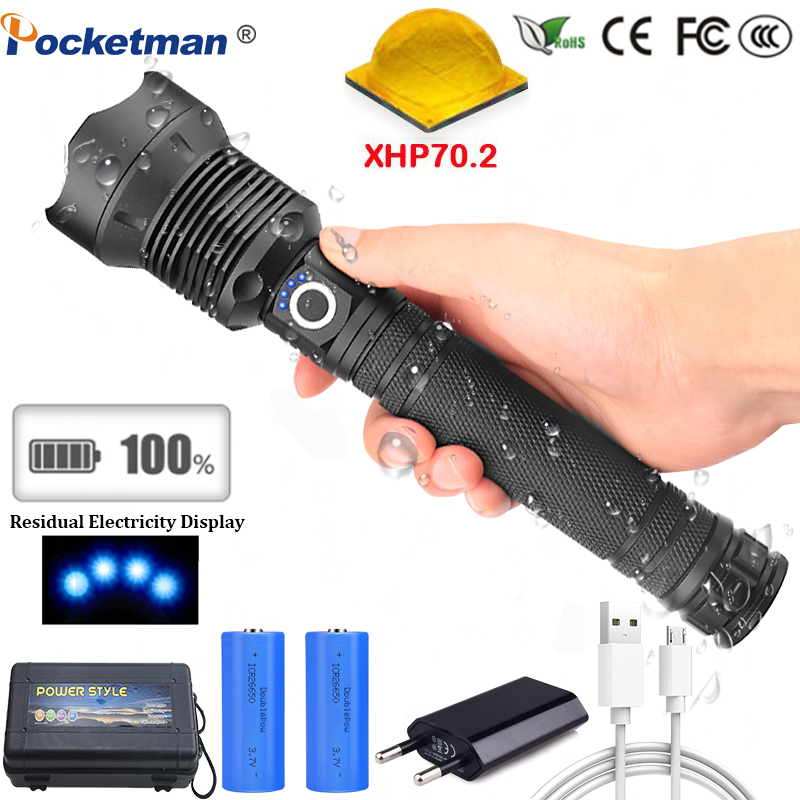 65000 Lumens Lamp XHP70.2 Most Powerful Flashlight USB Zoom Led Torch XHP70 XHP50 18650 or 26650 Battery Best Camping, Outdoor Люмен