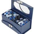 Conjunto Gravata dos homens da Manta Azul RBOCOTT & Verificado Gravata De Seda Tecido Jacquard Gravata + Lenço + Abotoaduras Para O Casamento de Negócios partido
