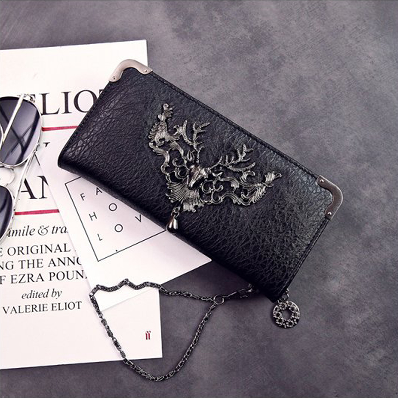 2018 Women Wallet Female Purse Long-horn Deer Iron Side Wallet Carteira Feminina Purse Female Portefeuille Femme Wallet fashion girl change clasp purse money coin purse portable multifunction long female clutch travel wallet portefeuille femme cuir
