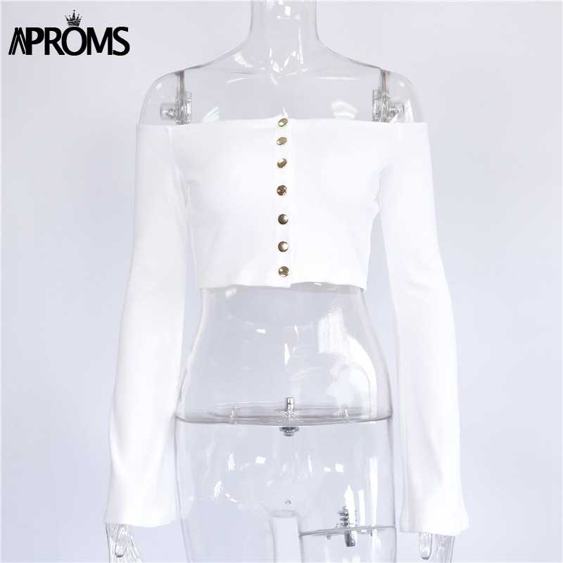 Aproms blanc épaules nues tricoté débardeur hauts femmes haut court boutons élastique mince basique Camis 2019 Streetwear Flare manches t-shirts