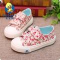Babaya marca primavera nueva llegada de la manera fresca floral low top school canvas shoes niños niñas zapatillas de deporte casuales de algodón plana