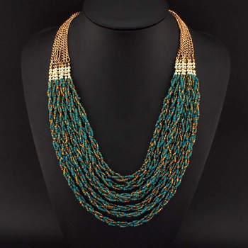 UKMOC Super Recommande Plage De Style De Mode À La Main 7 Twist Pour Femmes Robe Accessoires Multicouche Résine Perles Colliers #2275