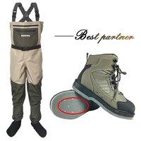 Fly обувь для рыбалки с гвоздями и брюки Аква войлочная Подошва восходящие кроссовки комплект одежды Рок Спорт болотные сапоги Охота не скол