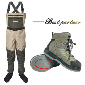Image 1 - Fly Fishing Shoes With Nails & Pants Aqua Felt Sole Upstream Sneakers Clothing Set Rock Sport Wading Waders Boot Hunting No slip