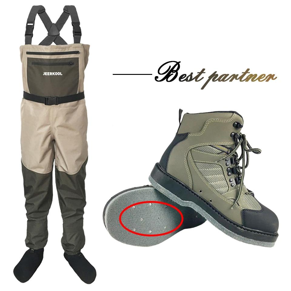 Zapatos de pesca con mosca con uñas y pantalones de fieltro Aqua suela zapatillas de deporte aguas arriba conjunto de ropa de deporte Rock Wading botas de caza no-slip