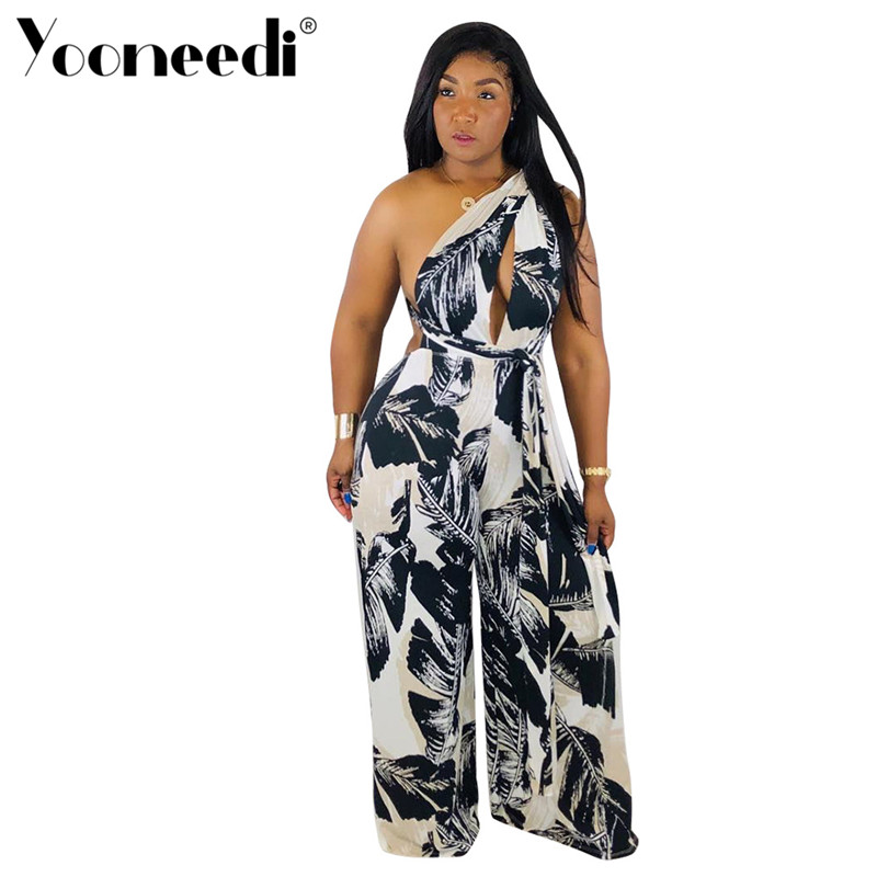 Humor Yooneedi 2019 Summer New Arrival Casual Women Jumpsuits 2 Color Print V-neck Sleeveless With Belt Ladies Rompers Lsd-8293