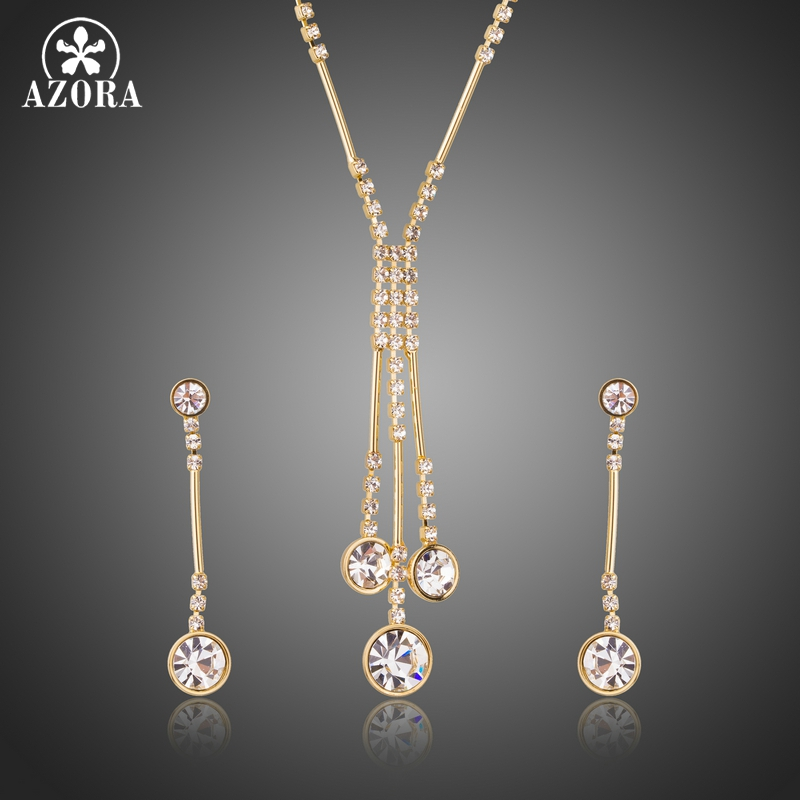AZORA Gold Color Jewelry Set for Women Water Drop Necklace & Pendant Drop Earrings Female Party Wedding Jewelry Sets TG0237 gorgeous alloy rhinestone water drop necklace jewelry for women