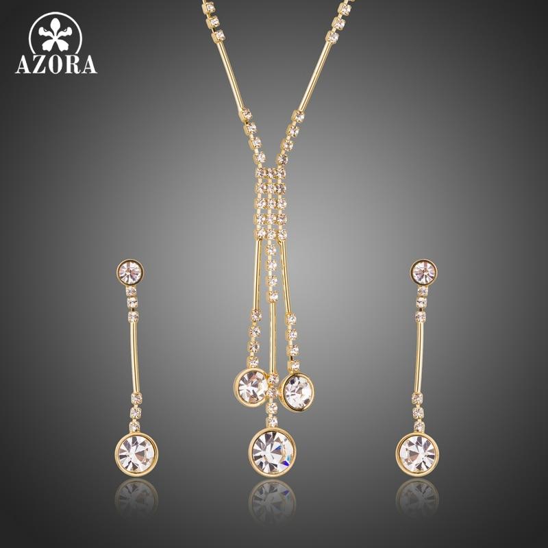 AZORA Gold Color Jewelry Set for Women Water Drop Necklace & Pendant Drop Earrings Female Party Wedding Jewelry Sets TG0237 graceful rhinestone alloy water drop necklace jewelry for women