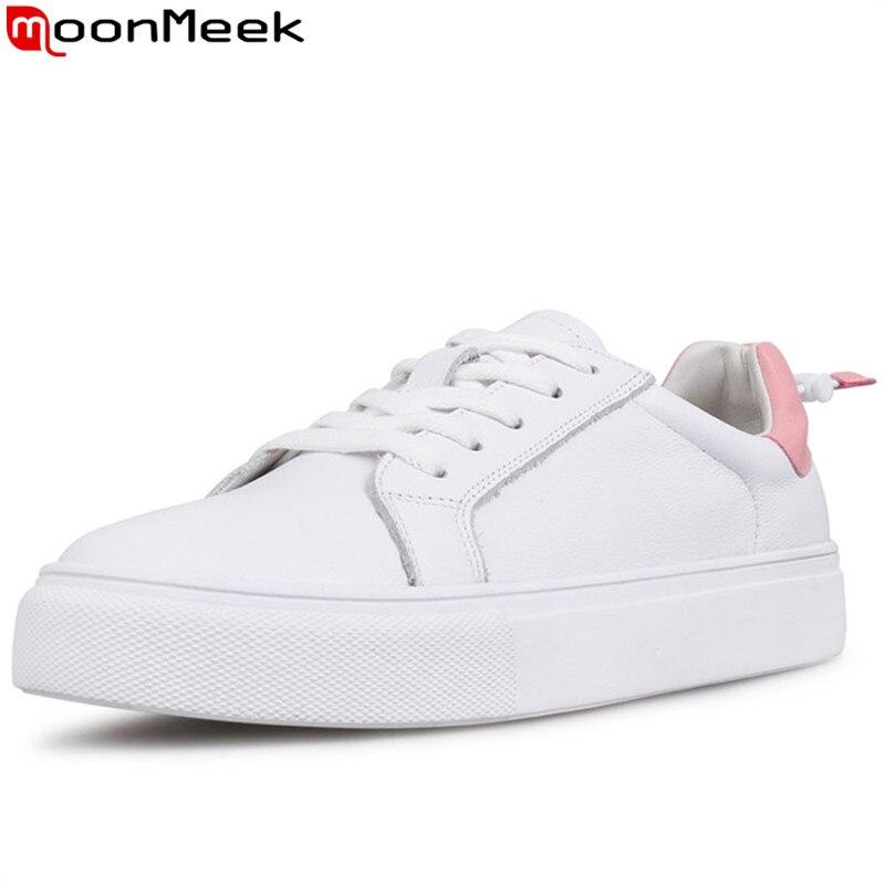 Plat 2019 noir Moonmeek Nouveaux Chaussures Véritable Lacets Cuir Couleurs Mélangées Dames Plate En Sneakers À Pink Appartements forme Femmes rCQtsxhd