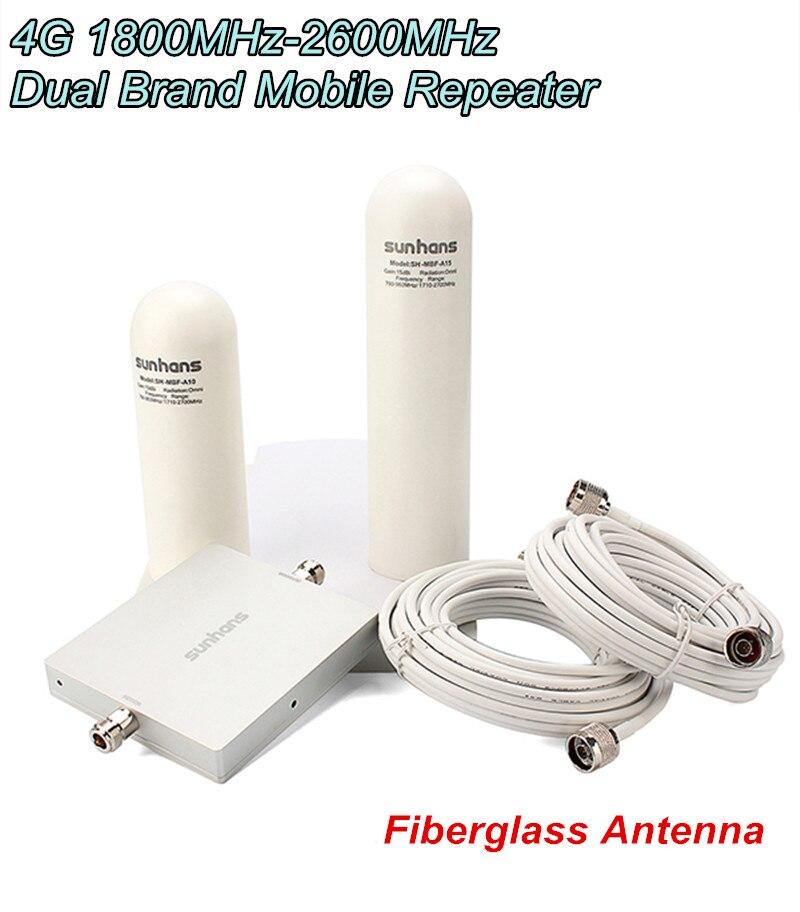 Livraison gratuite Sunhans SH-D18L26-D2 65dB 1800 MHz-2600 MHz 4G amplificateur de Signal répéteur avec antenne en fibre de verre