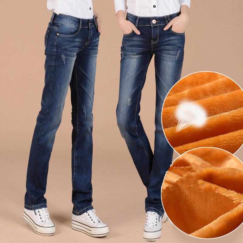 Plus Thick Velvet Women Straight Jeans Denim Trousers Casual Pants New Winter Women's Clothing Warm Pants Blue Denim Jeans C1646