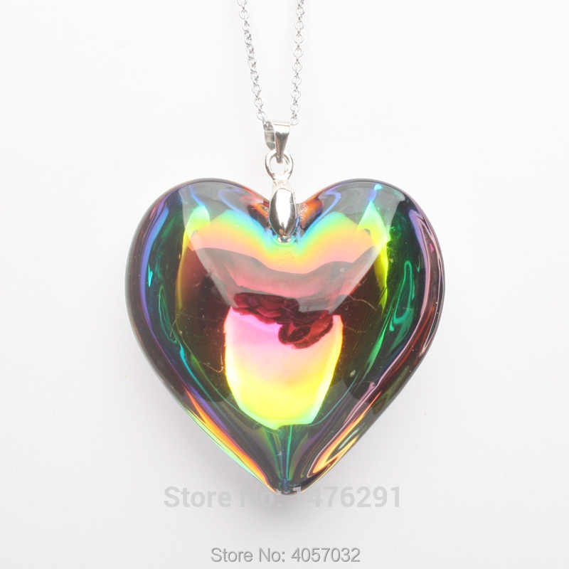 "Charming AB Multi-Color Crystal Glass Heart Bead Pendant & Chain Necklace 18""L"