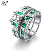 HERFANS New Luxury Fashion Silver Color 2 Pieces Ring Sets Square Green Cubic Zirconia Engagement Rings