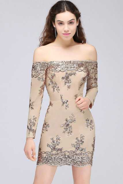 6fbed12164592 US $29.39 37% OFF|In stock sexy cocktail dress Women Short off shoulder  Champagne Lace Sparkling Sequins party dresses cocktail vestidos 2018-in ...