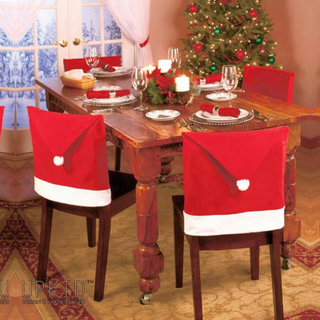 3pcs Chair Covers For Christmasn Decoration Relogio Red Santa Hat Pattern Novelty  Chair Covers Dinner Chair