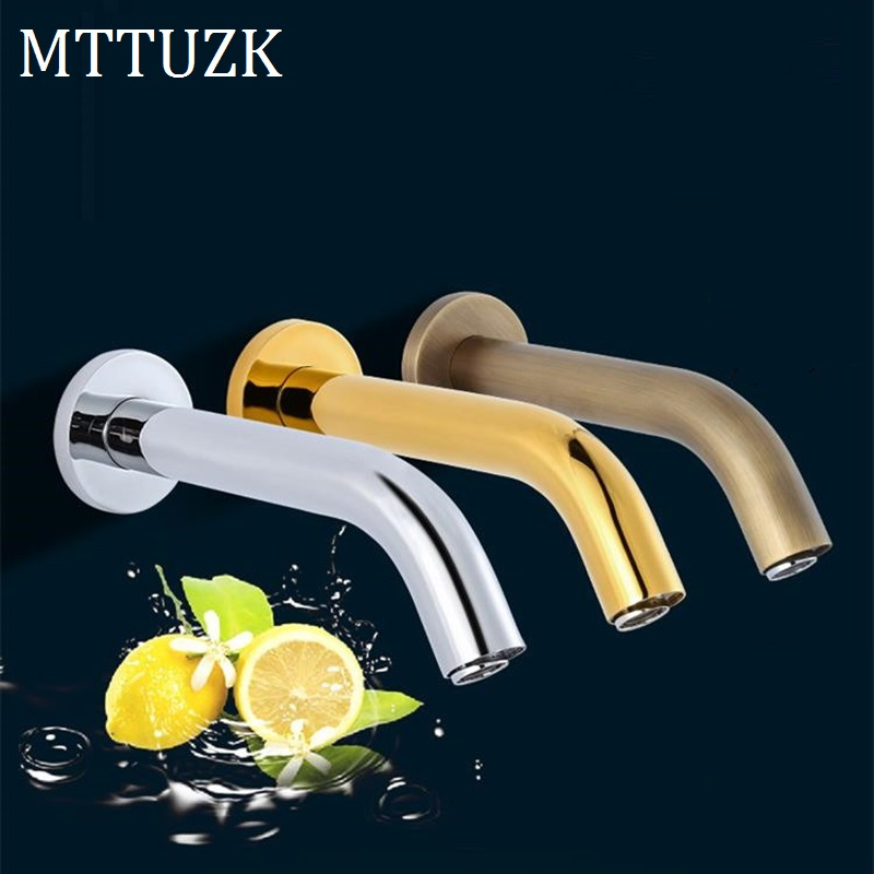 MTTUZK Gold Chrome Antique Wall Mounted Stainless Steel Automatic Sensor Faucet Bathroom Wash Basin Touchless infrared