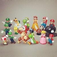 Новый 18 шт./компл. Super Mario Bros игрушки динозавр игрушка фигура супер Марио Фигурки детская Новый год игрушка в подарок Рождество подарок
