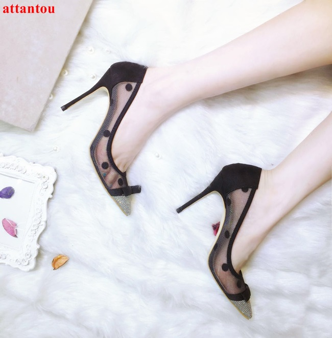 Luxury pointed toe woman high heels slip-on sexy black lace pumps polka dot pattern knot decor sandals female party dress shoes contrast lace knot cami dress