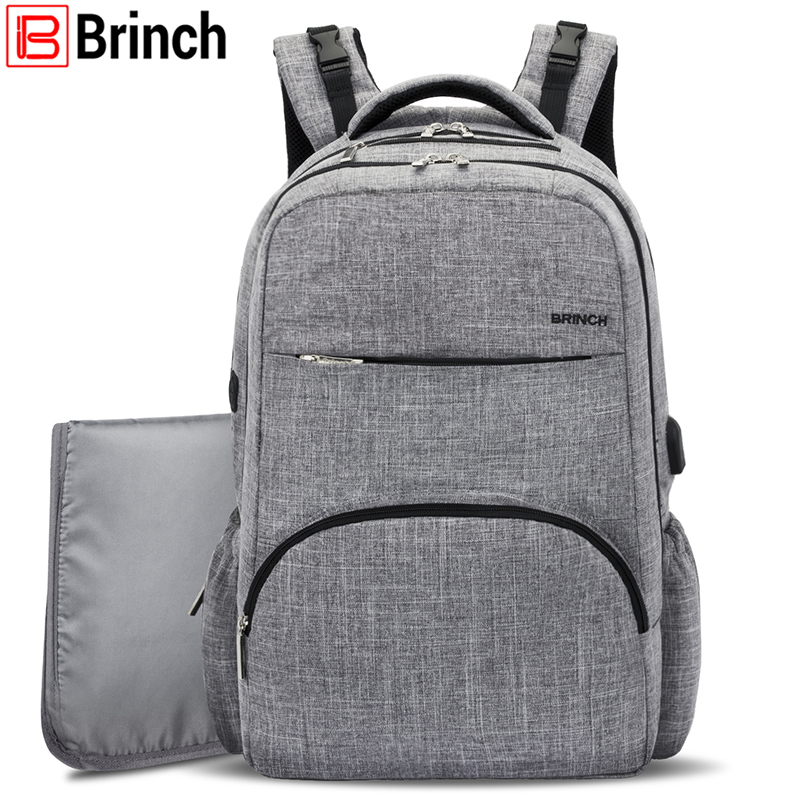 BRINCH Nappy Bag Baby Diaper Bag Backpack With USB Charging Port Large Capacity Mom Backpack Insert Organizer For Boy/ Girl