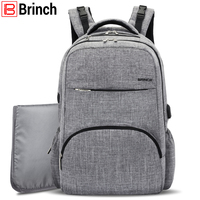 BRINCH Nappy Bag Baby Diaper Bag Backpack With USB Charging Port Large Capacity Diaper Backpack Insert