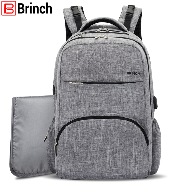 Brinch Ny Bag Baby Diaper Backpack With Usb Charging Port Large Capacity Mom Insert